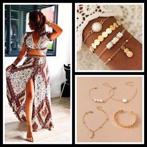 4pcs Pineapple & Disc Decor Bracelets Set